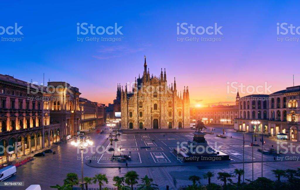 Milan Piazza Del Duomo at Sunrise, Italy stock photo