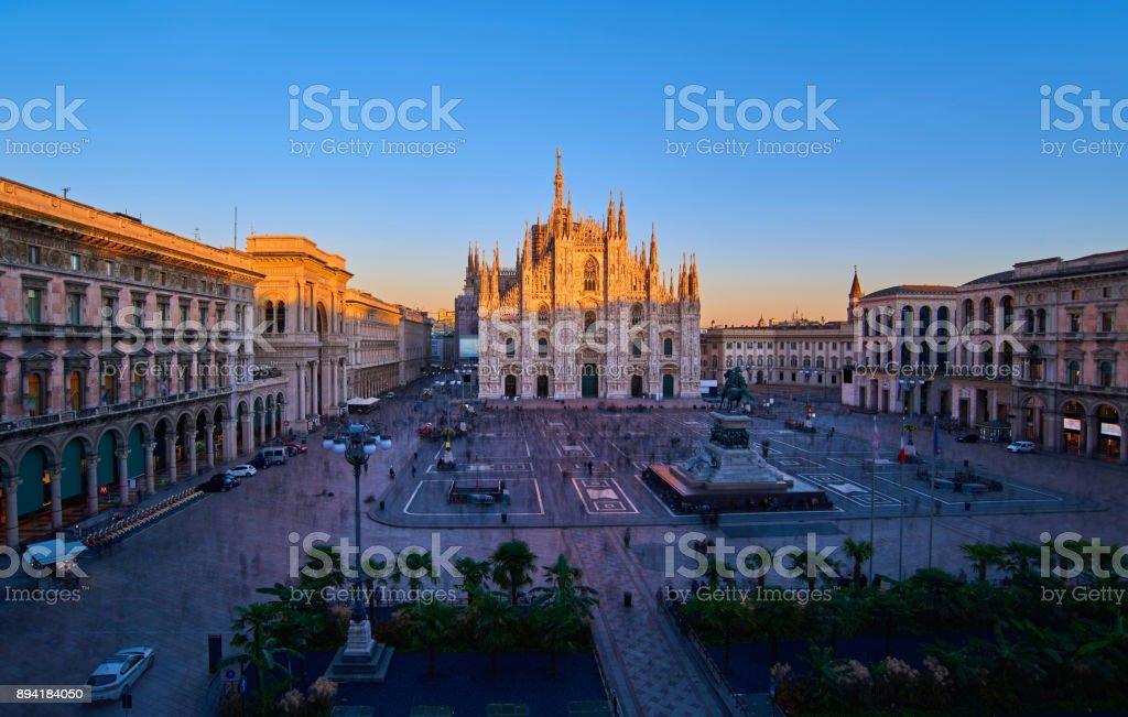 Milan Piazza Del Duomo at Sunset, Milan, Italy stock photo