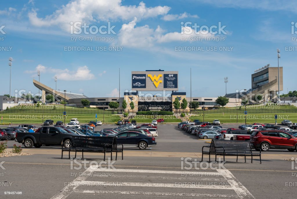 Milan Puskar Stadium in Morgantown, WV stock photo