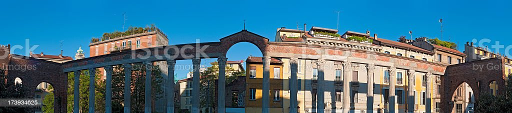 Milan San Lorenzo alle Colonne sunlight and shadows royalty-free stock photo