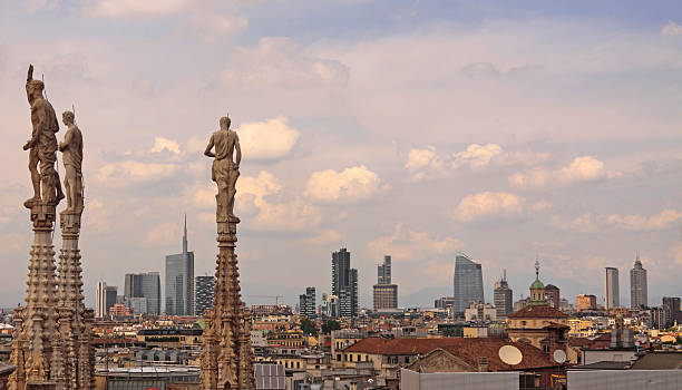 Milan Skyline from Duomo of Milan stock photo