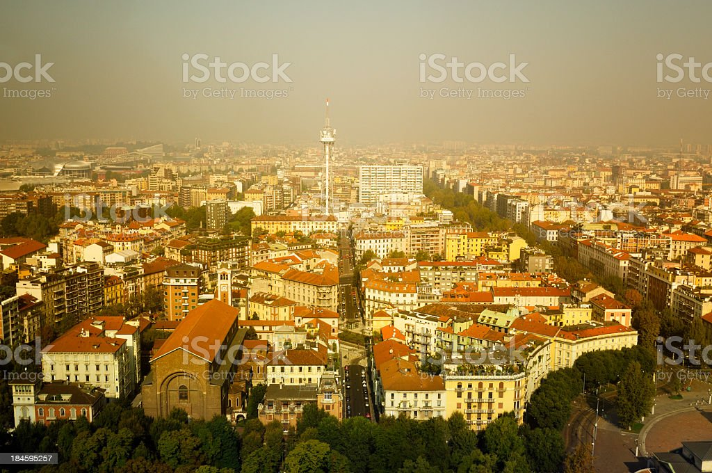 Milan Skyline as seen from observation deck of Branca Tower.Italy.