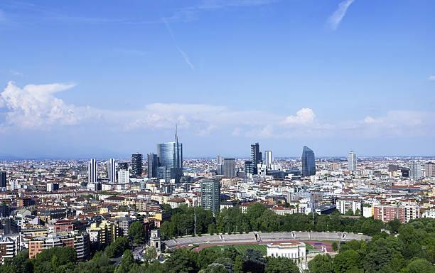 Milan Skyline (2014 updated, panoramic view) stock photo