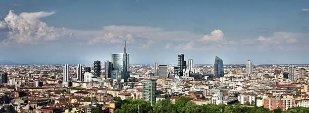 Milan Skyline (2014 updated, dramatic sky) stock photo