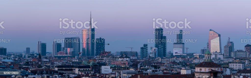 Milan skyline, panoramic view at sunset.