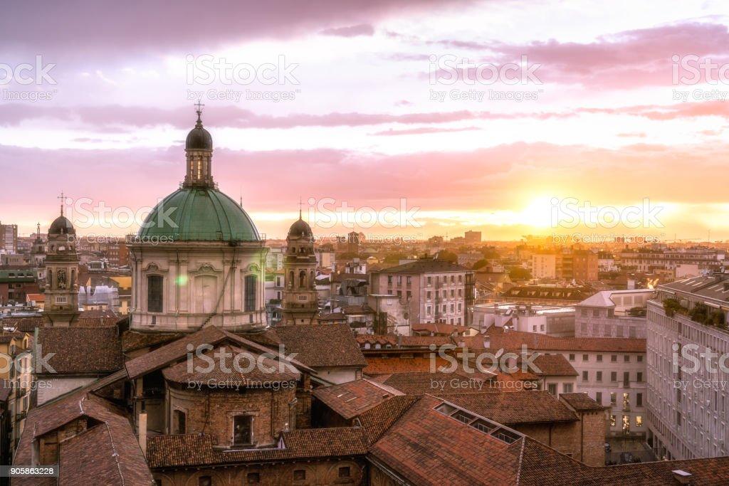 Milan skyline with church cupolas, Italy - foto stock