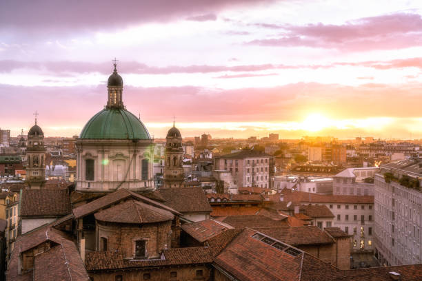 milan skyline with church cupolas, italy - milano foto e immagini stock