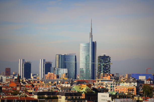 Milan skyline with modern skyscrapers in Porto Nuovo business district, Italy. Panorama of Milano city for background stock photo