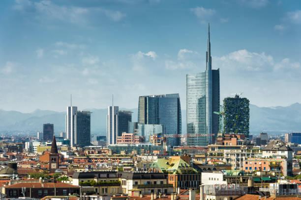 milan skyline with modern skyscrapers - milano foto e immagini stock
