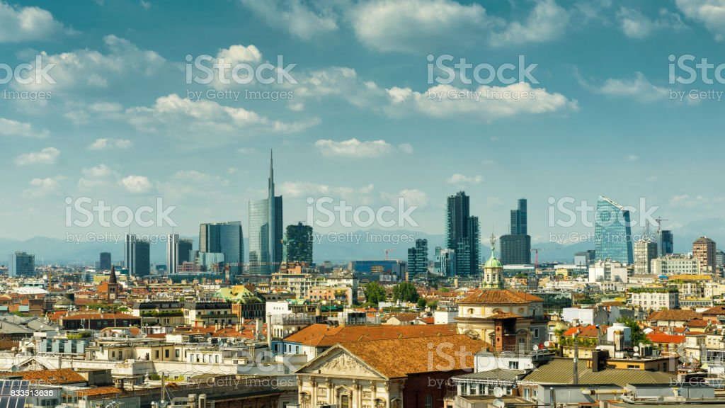 Milan skyline with modern skyscrapers in Porto Nuovo business...