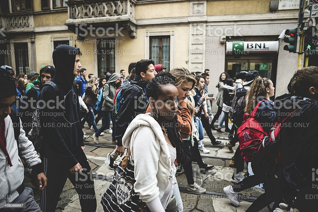 Milan students manifestation on October, 4 2013 stock photo