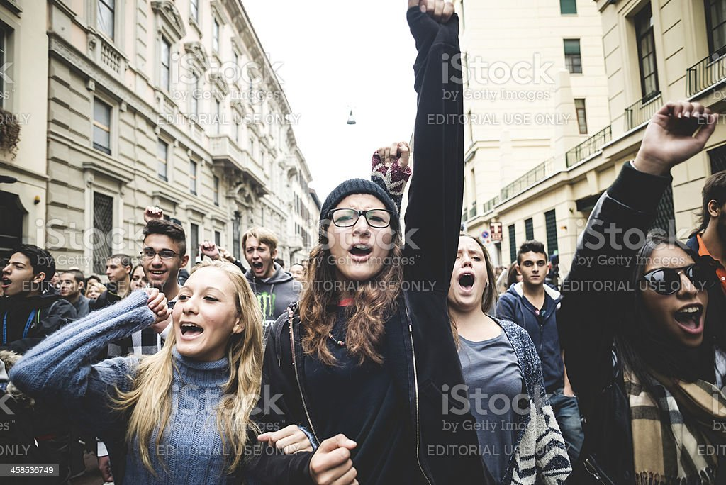 Milan students manifestation on October, 4 2013 stock photo