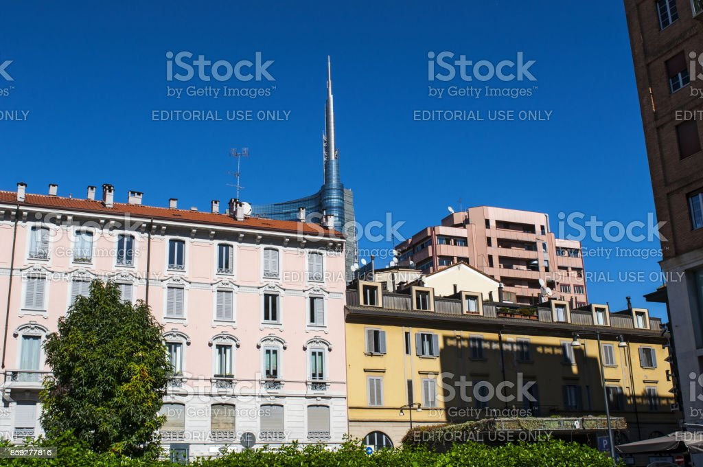 Milan: the skyline of Milan in the Brera district with view of the spire of the Unicredit Tower (Torre Unicredit), the tallest skyscraper in Italy designed by architect Cesar Pelli stock photo