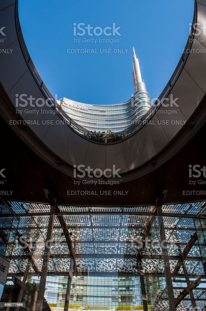 Milan: the spire of the Unicredit Tower (Torre Unicredit), the tallest italian skyscraper designed by Cesar Pelli, seen from Gae Aulenti Square stock photo