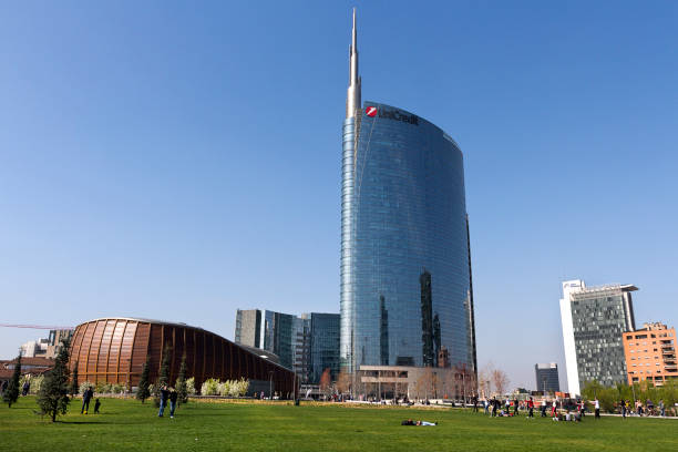 Milan - The UniCredit skyscraper, reflections in a spring day in Porta Nuova District Park, . Lombardy Italy stock photo