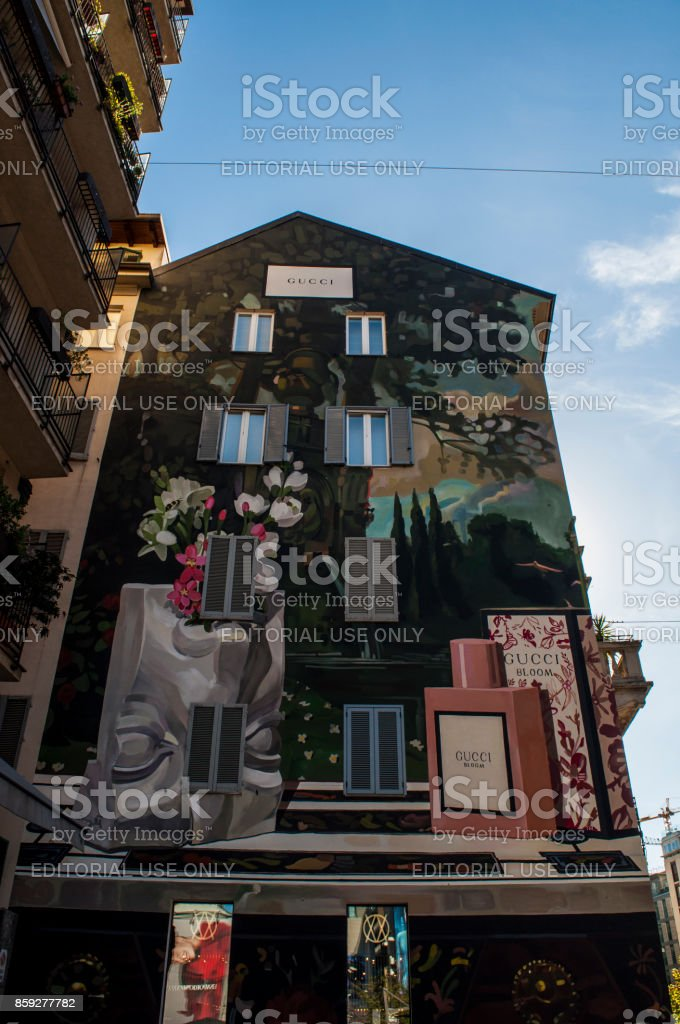 Milan: windows and architectural details of a decorated palace in Corso Garibaldi, in the Brera District, sponsored by the famous italian fashion maison Gucci stock photo