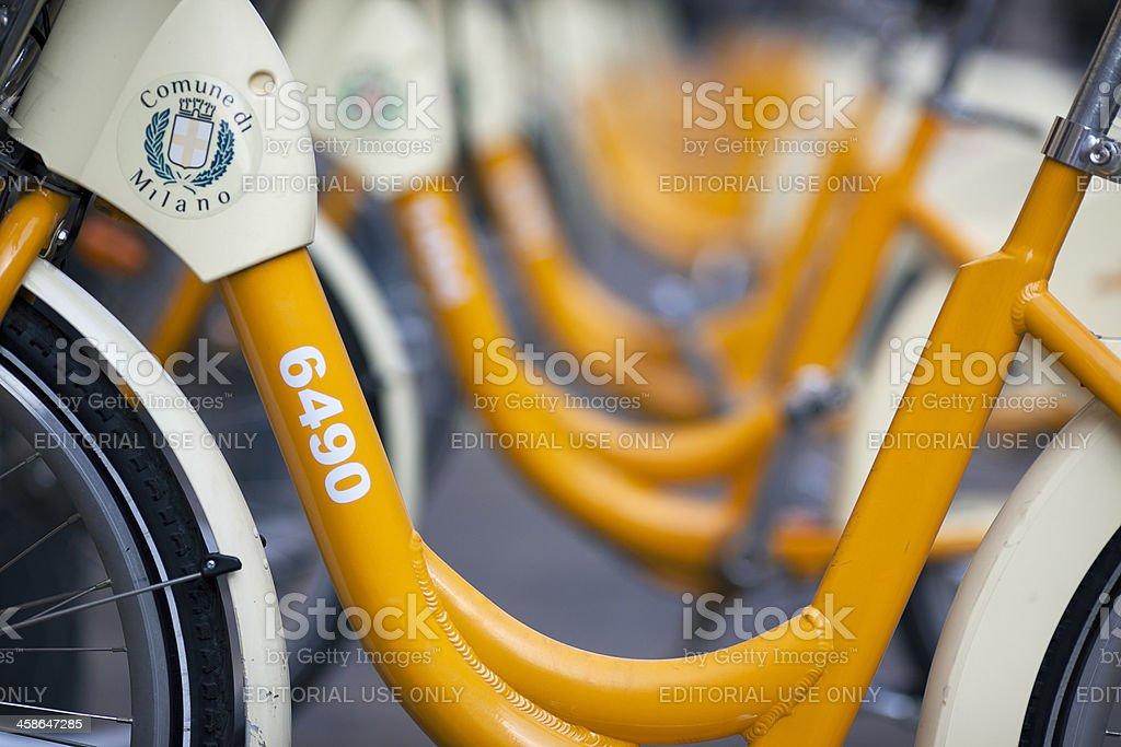 MIlan yellow public bikes royalty-free stock photo