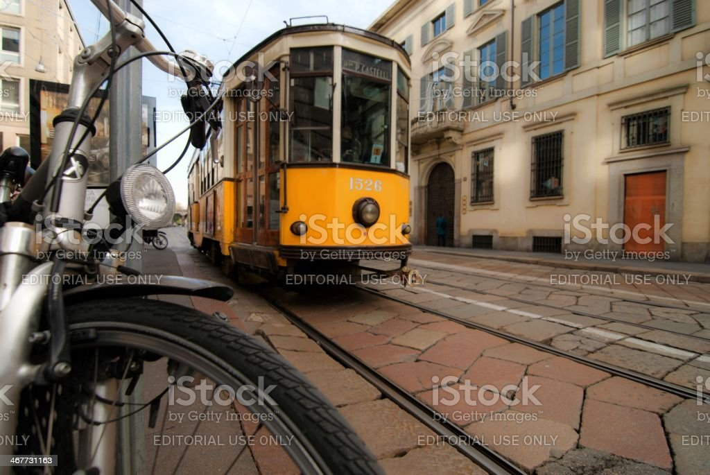 Milan, yellow tram stock photo