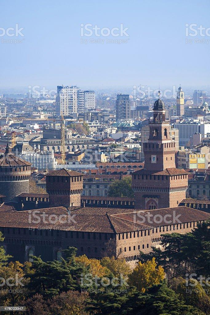 Milano Castello Sforzesco Panorama - foto de stock