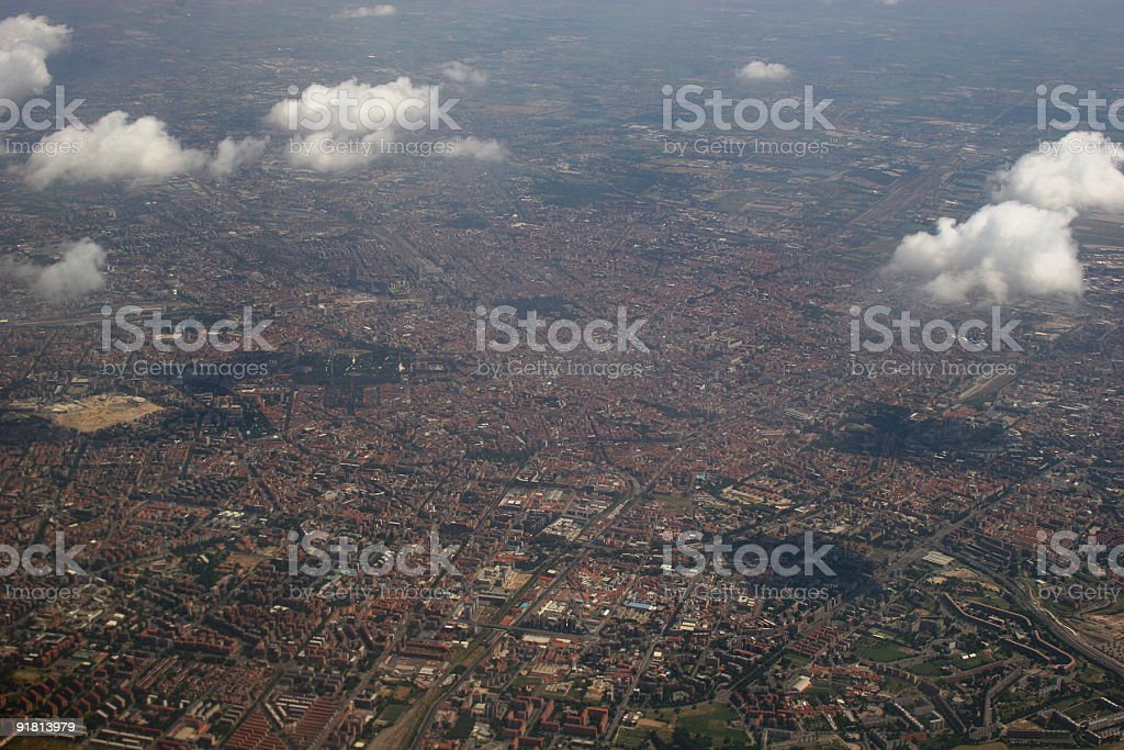 Milano in Italy, areal view from the west royalty-free stock photo