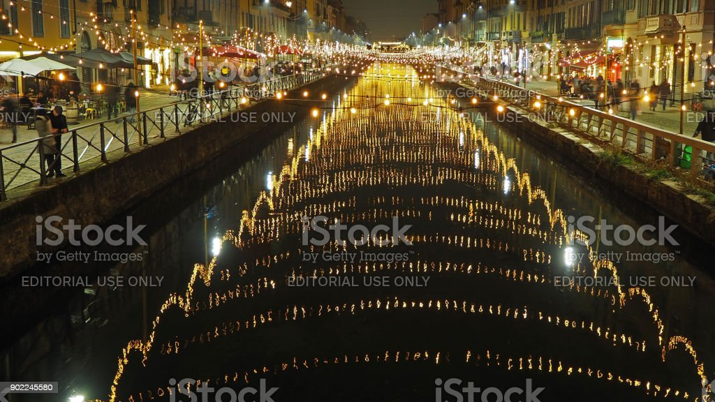 Milano, Italy. The Naviglio Grande canal waterway with Christmas...