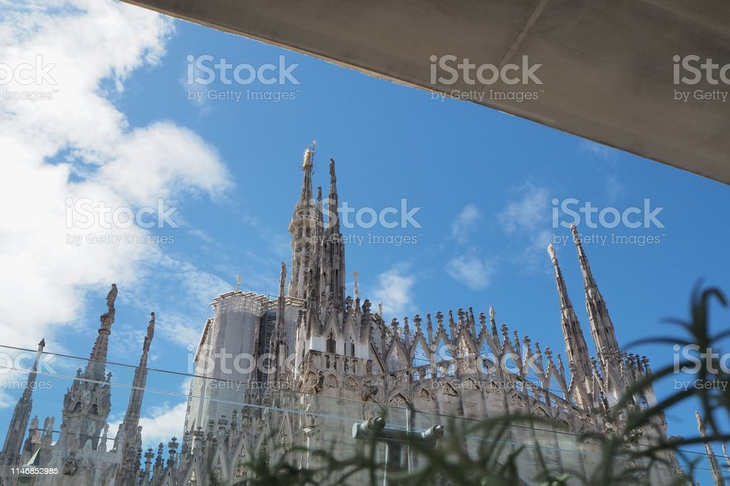 Milano Italy The Spiers Of White Marble That Adorn The