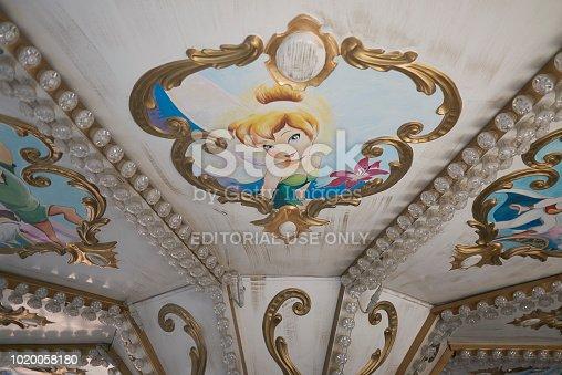 Milano Marittima, Italy - July 28, 2018 : Carousel details in Milano Marittima