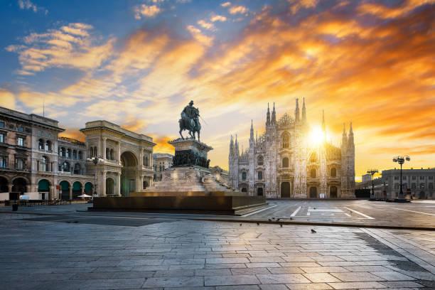 Milano spirit Duomo at sunrise, Milan, Europe. town square stock pictures, royalty-free photos & images