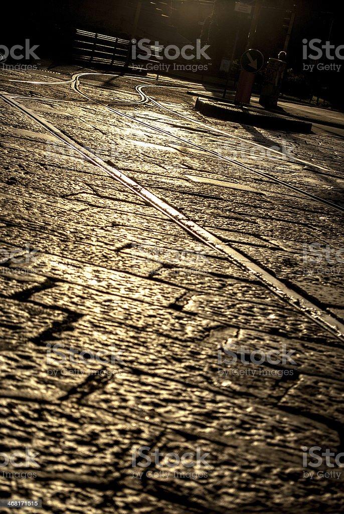 Milano, tram giallo stock photo