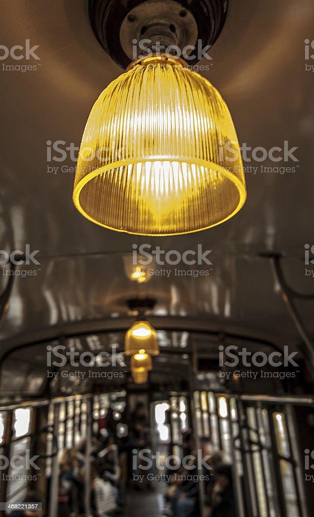 Milano, tram giallo, trasporto. stock photo