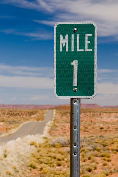 Mile 1 one marker on desert highway vertical stock photo
