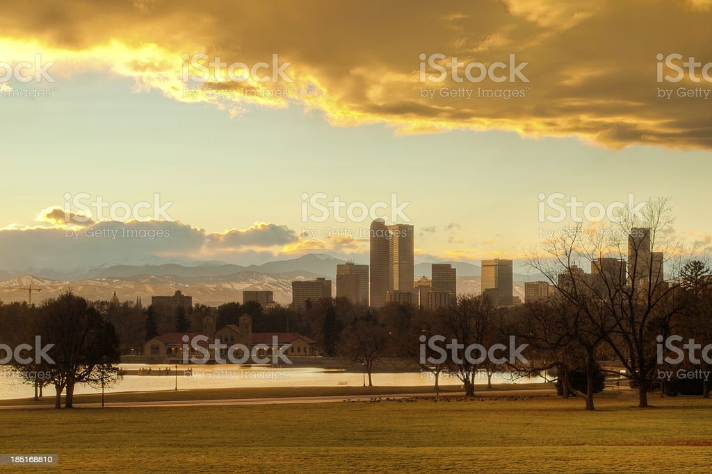 Mile High City of Denver by night royalty-free stock photo