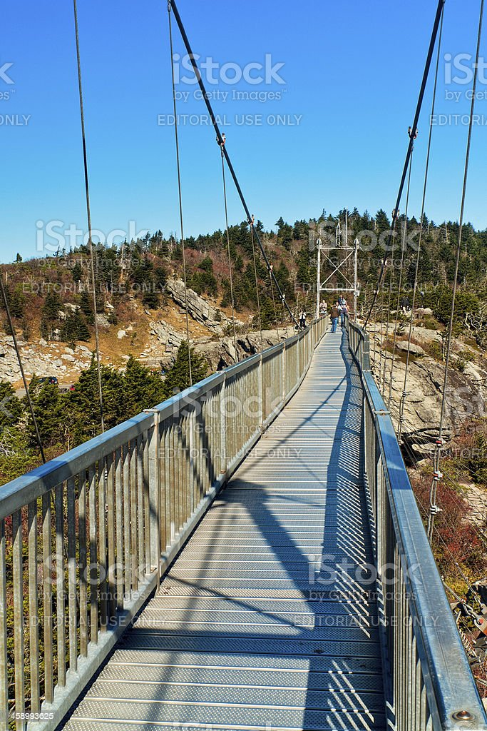 Mile High Swinging Bridge, Grandfather Mountain, North Carolina, USA stock photo