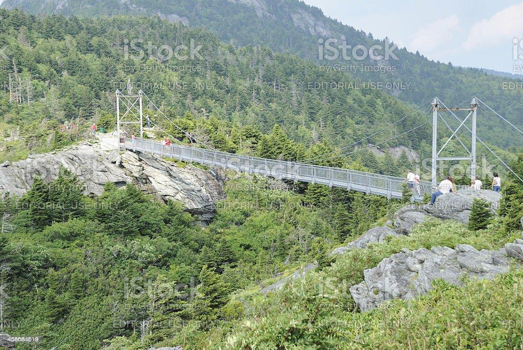 Mile high swinging bridge stock photo