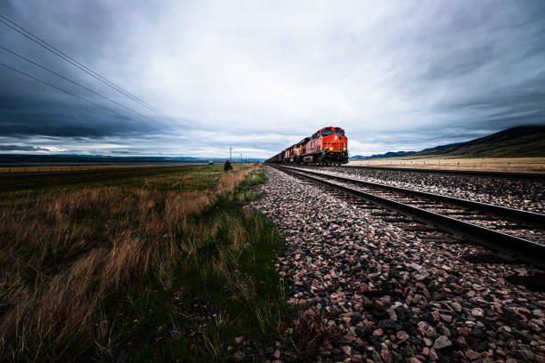 Mile long freight train in Montana, USA stock photo