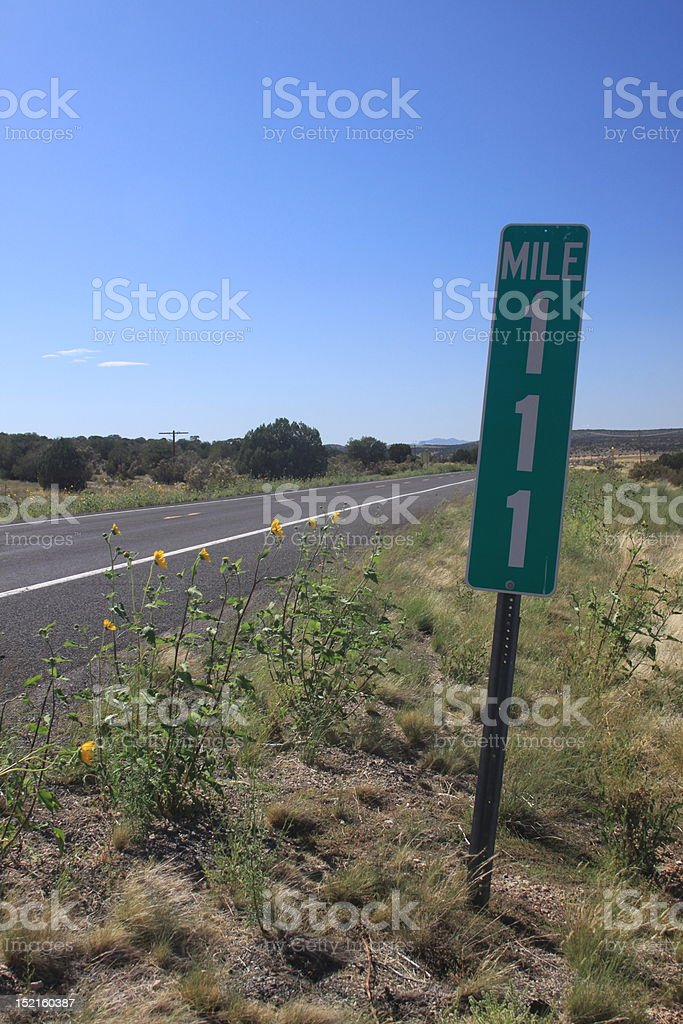 Mile marker 111 on Route 66 stock photo