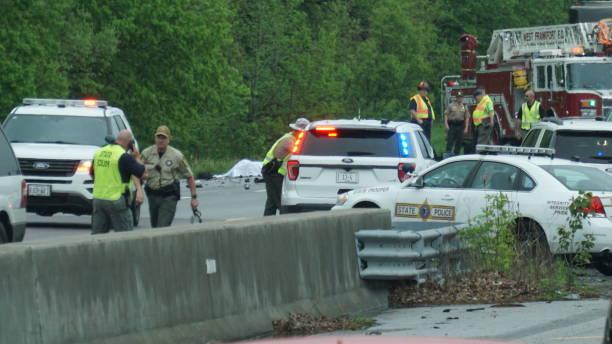 I 57 Mile marker 65 near West Frankfort Illinois Accident stock photo