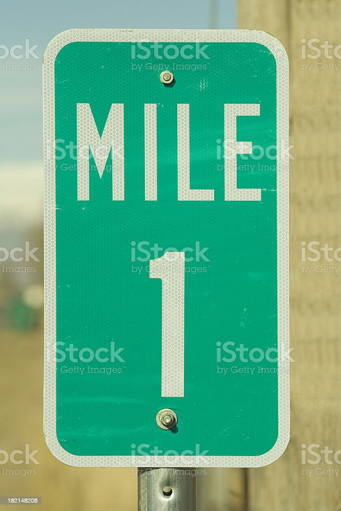 Mile Marker One. stock photo