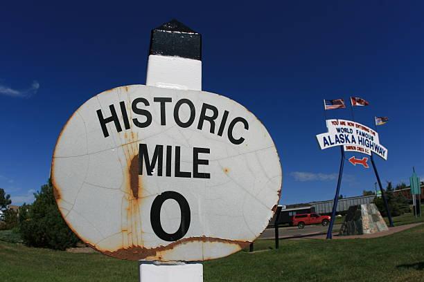 Mile Marker Zero Alaska Highway stock photo
