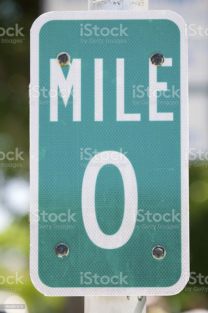 Mile Marker Zero Sign in Green Close Up stock photo