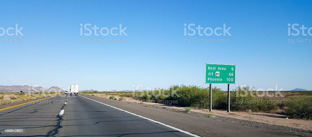 100 miles to Phoenix, AZ stock photo