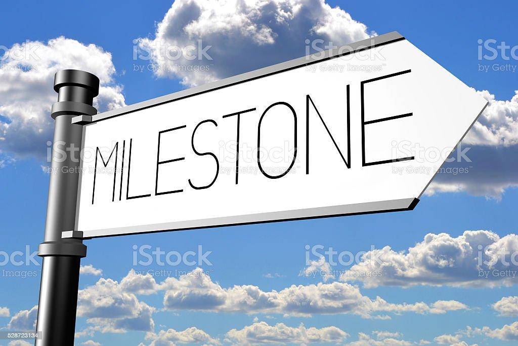 Milestone signpost stock photo