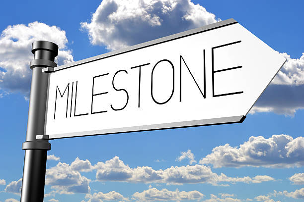 Milestone signpost stock photo