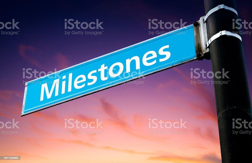 Milestones Road Sign stock photo