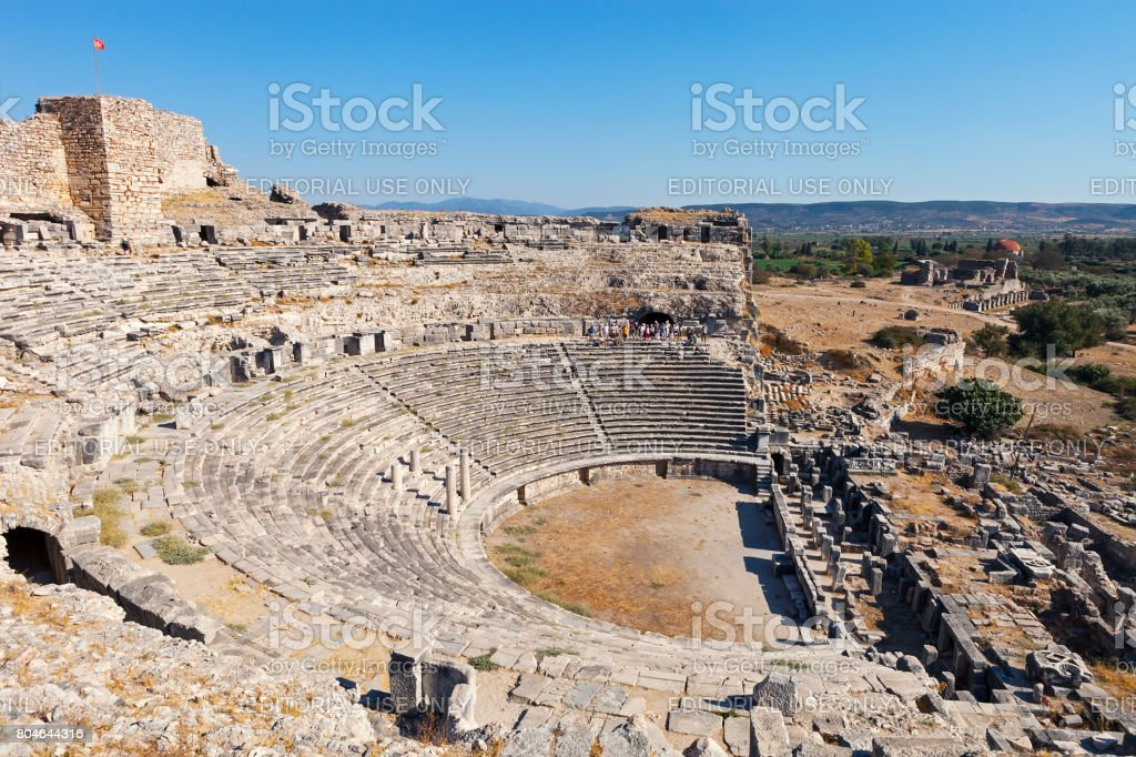 Miletus ancient city amphitheater stock photo