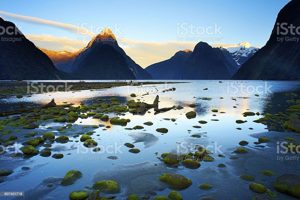 Milford Sound Dawn, Fiordland National Park stock photo