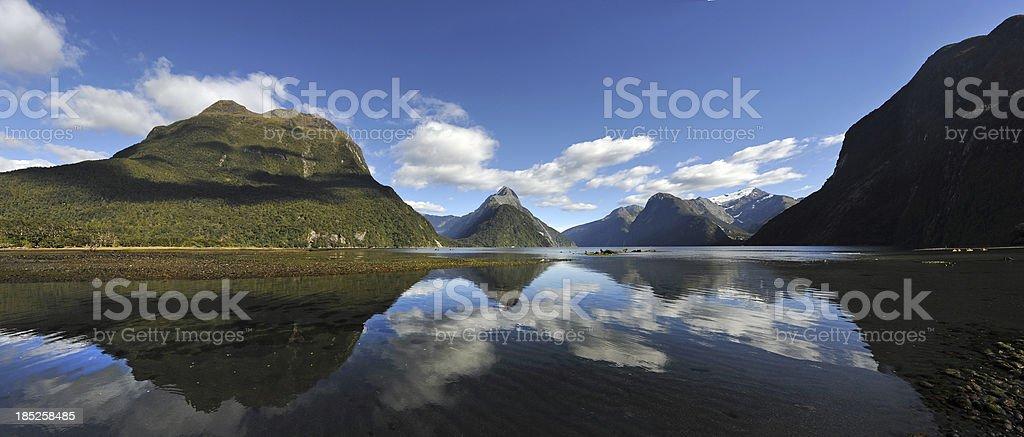 Milford Sound Panorama stock photo