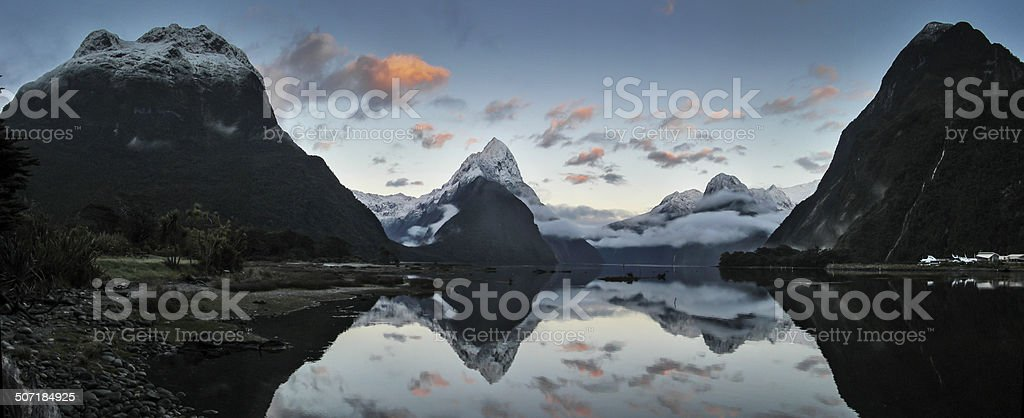 Milford Sound Panorama stock photo