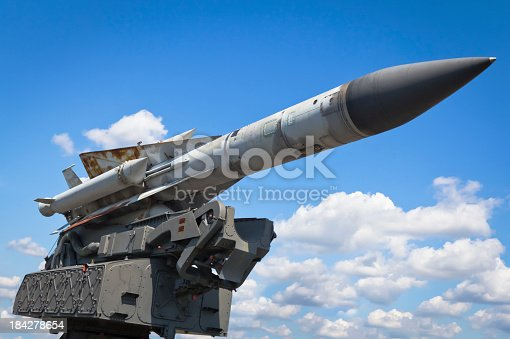 Russian S-200 Wega - very long range, medium-to-high altitude surface-to-air missile against blue sky