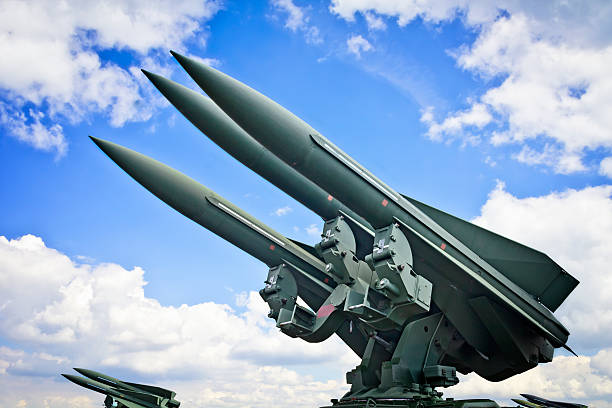 Military air missiles in defense readiness U.S. medium range self-propelled anti-aircraft missiles MIM-23 Hawk in defense readiness antiaircraft stock pictures, royalty-free photos & images